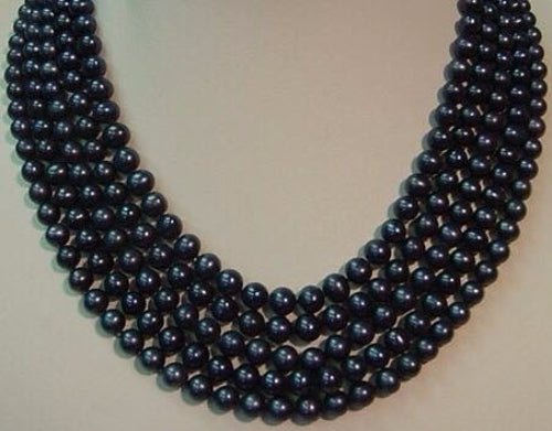 5 Strand Fresh Water Pearls Dyed Black Necklace with Silver Slide Lock Clasp