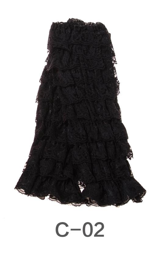 C-02 Toddler Girl's Black Ruffle Lace Leg Warmers