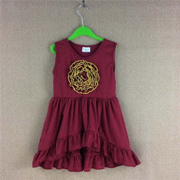W-1006 Girl's  burgundy dress size 3T-8