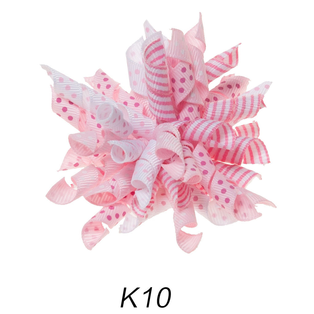 Korker #10 Light Pink Swirl Polka Dot Clip on Hair/Shoe Bow (Sold Individually)
