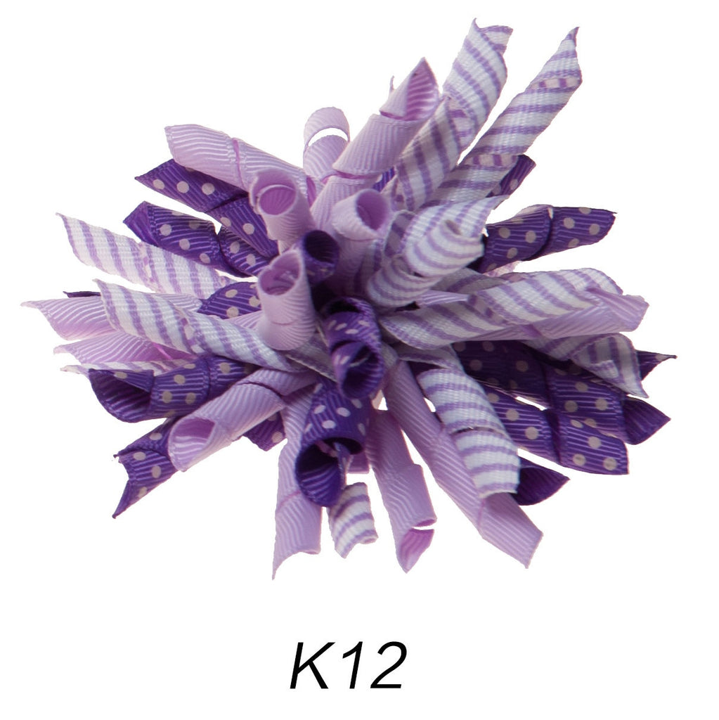 Korker #12 Purple Polka Dot Clip on Hair/Shoe Bow (Sold Individually)