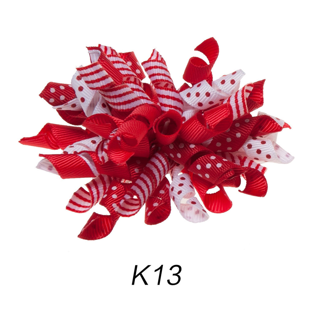 Korker #13 Red/White Polka Dot Clip on Hair/Shoe Bow (Sold Individually)