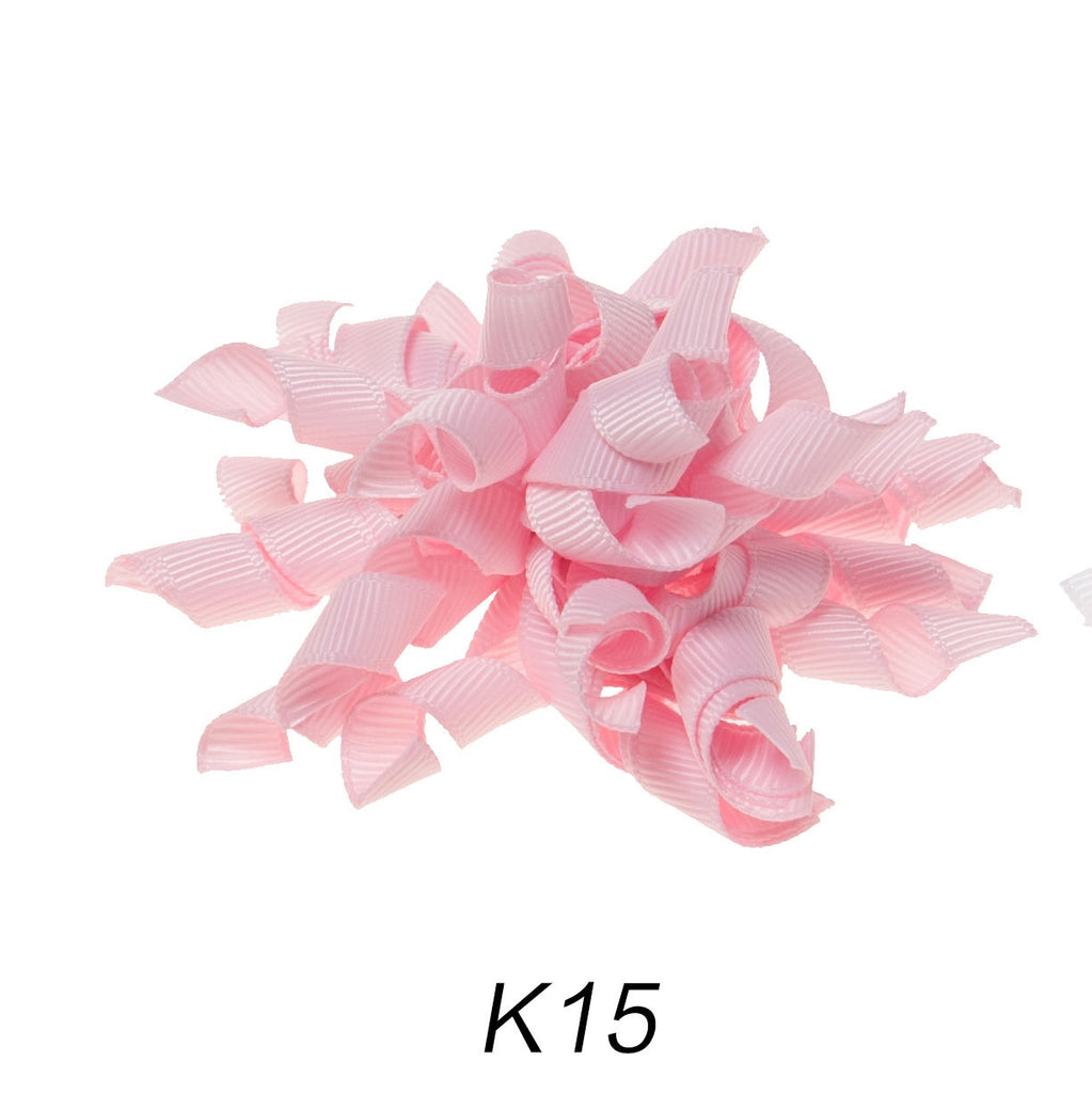Korker #15 Pink Swirl Clip on Hair/Shoe Bow (Sold Individually)
