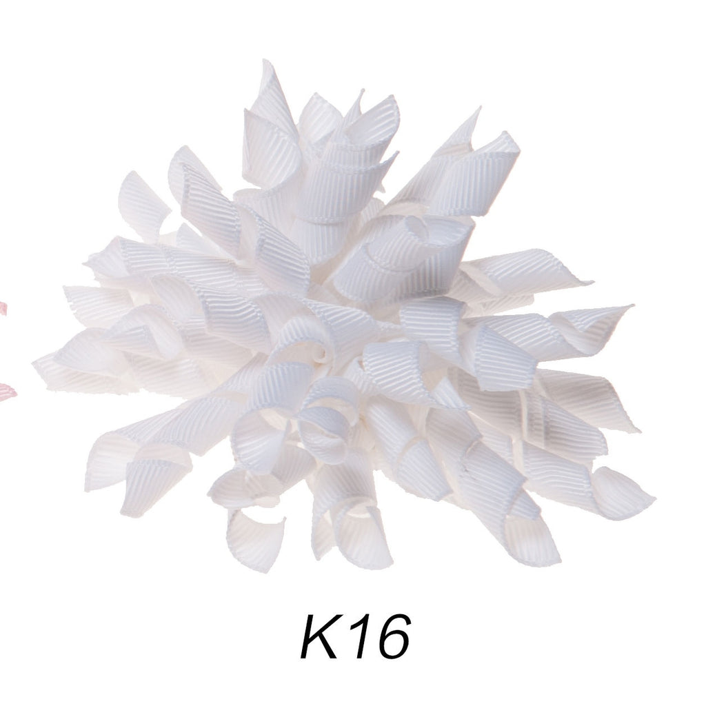 Korker #16 White Swirl Clip on Hair/Shoe Bow (Sold Individually)