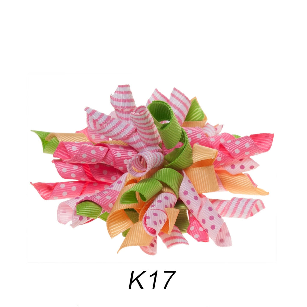 Korker #17 Spring Polka Dot Clip on Hair/Shoe Bow (Sold Individually)