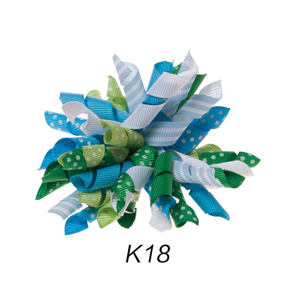 Korker #18 Winter Polka Dot Clip on Hair/Shoe Bow (Sold Individually)