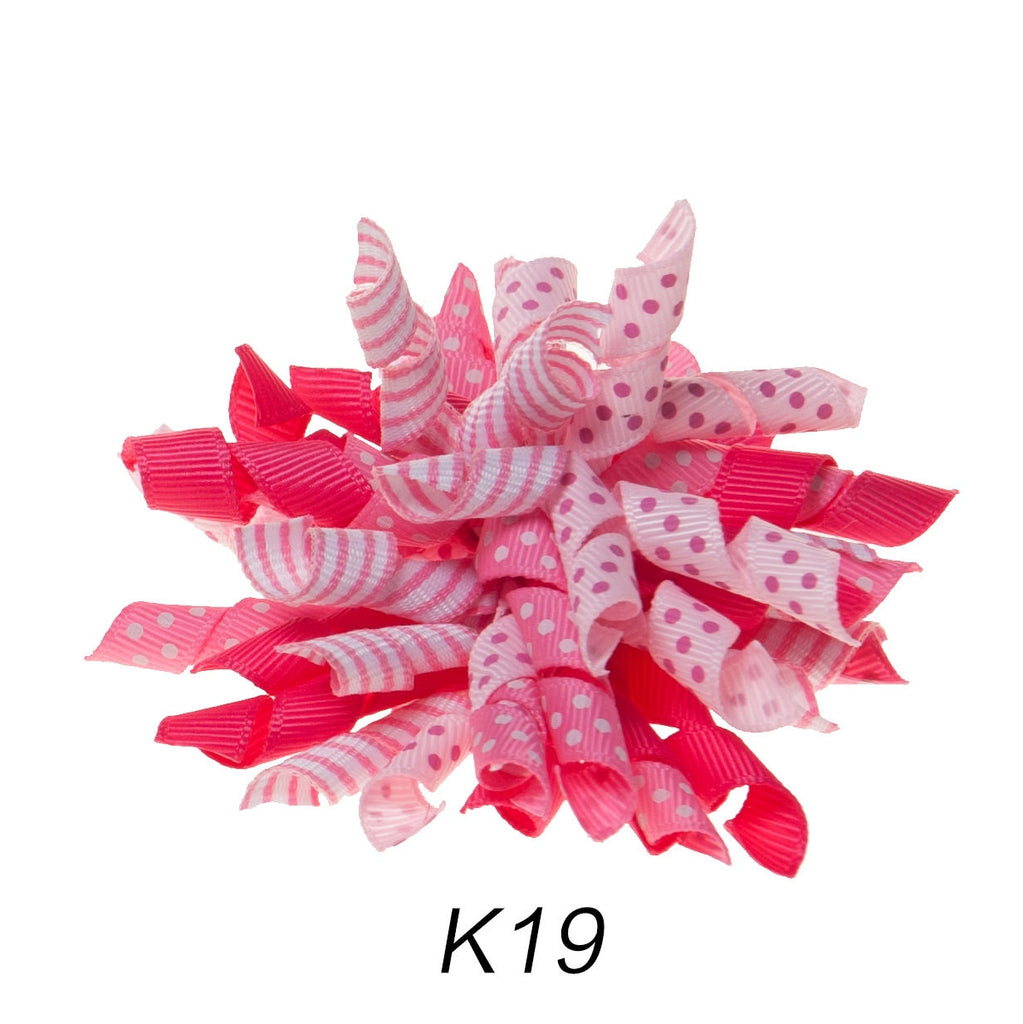 Korker #19 Hot Pink Polka Dot Clip on Hair/Shoe Bow (Sold Individually)