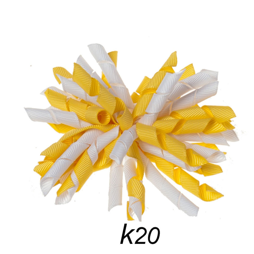Korker #20 Yellow/White Swirl Clip on Hair/Shoe Bow (Sold Individually)