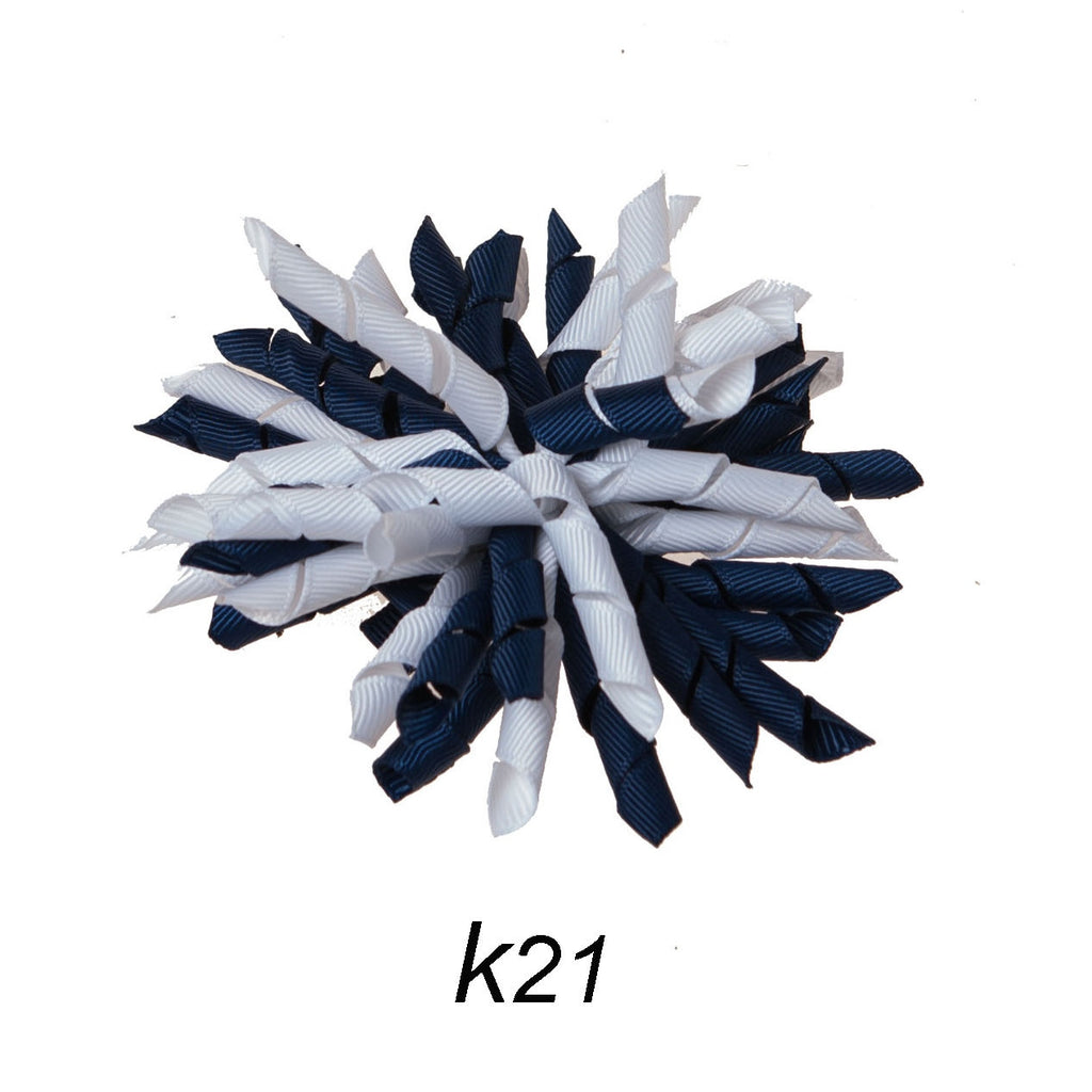 Korker #21 Navy/White Swirl Clip on Hair/Shoe Bow (Sold Individually)
