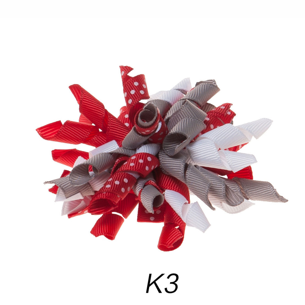 Korker #3 Red/Grey Polka Dot Clip on Hair/Shoe Bow (Sold Individually)
