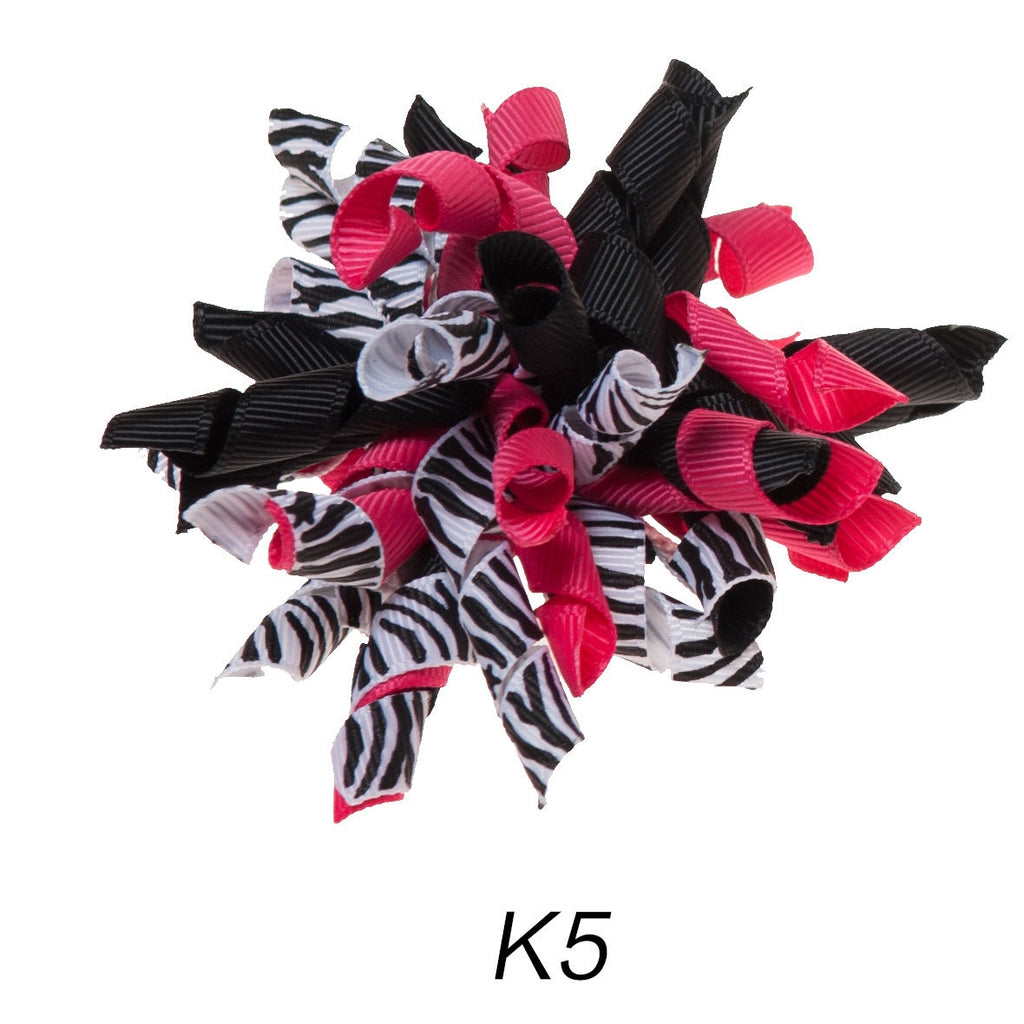 Korker #5 Zebra Swirl Clip on Hair/Shoe Bow (Sold Individually)