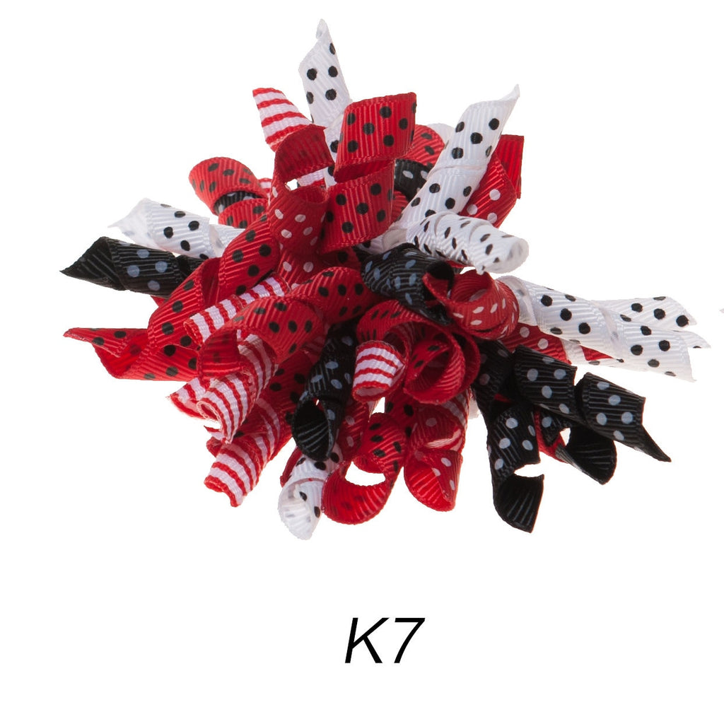 Korker #7 Red/Black/White Polka Dot Clip on Hair/Shoe Bow (Sold Individually)