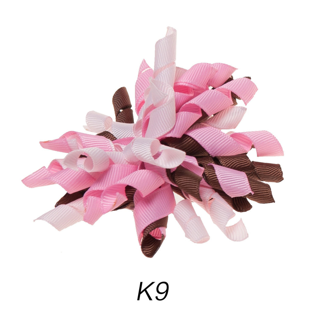 Korker #9 Pink/Brown Swirl Clip on Hair/Shoe Bow (Sold Individually)