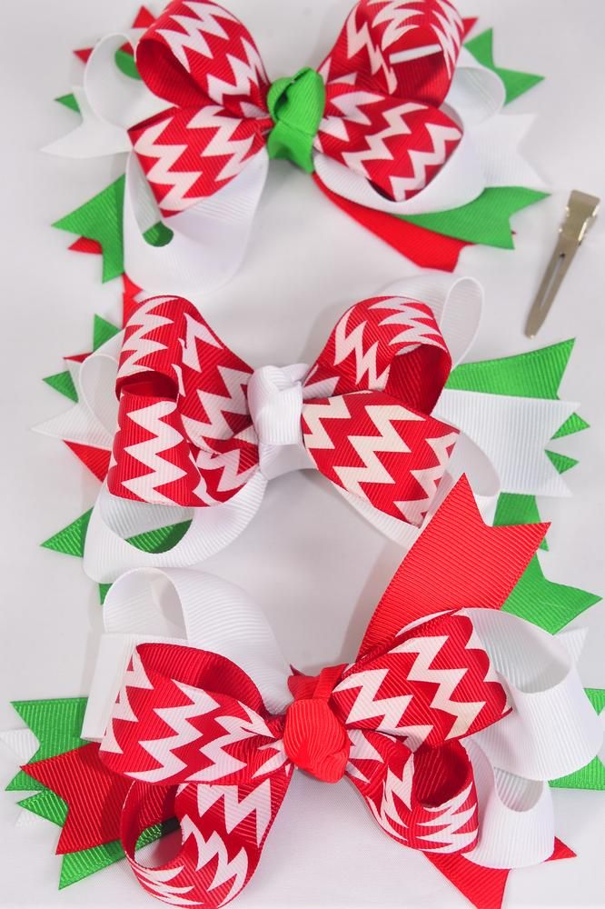 MS-0077 Jumbo Christmas Triple Layered Chevron Bow