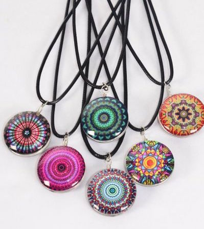 MS-0063 Black Aztec Double Sided Glass Dome Mandala Necklace