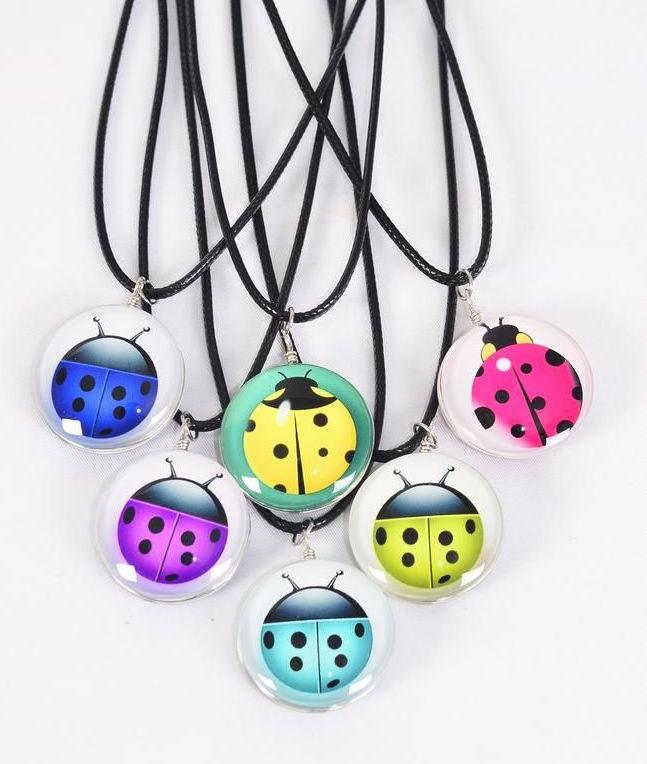 MS-0064 Black Ladybug Double Sided Glass Dome Necklace