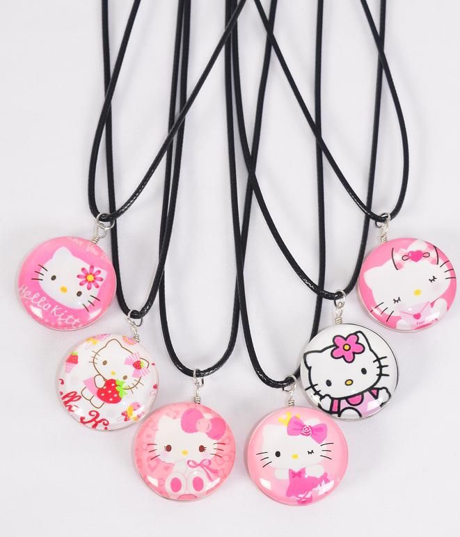 MS-0068 Black Kitty Cat Double Sided Glass Dome Necklace