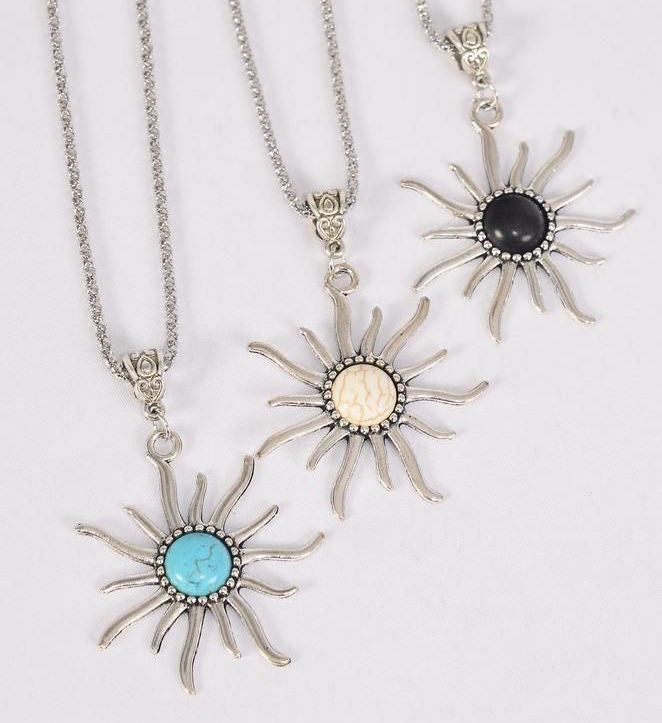 MS-0071 Necklace Silver Chain Metal Antique Sun Semiprecious Stone