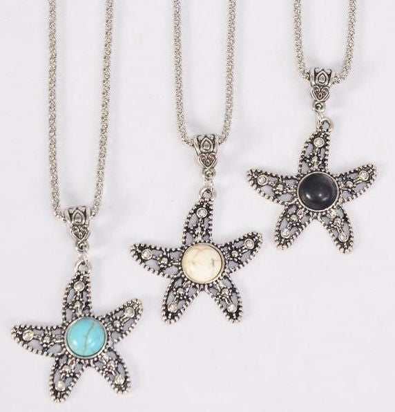 MS-0072 Necklace Silver Chain Star Fish Semiprecious Stone