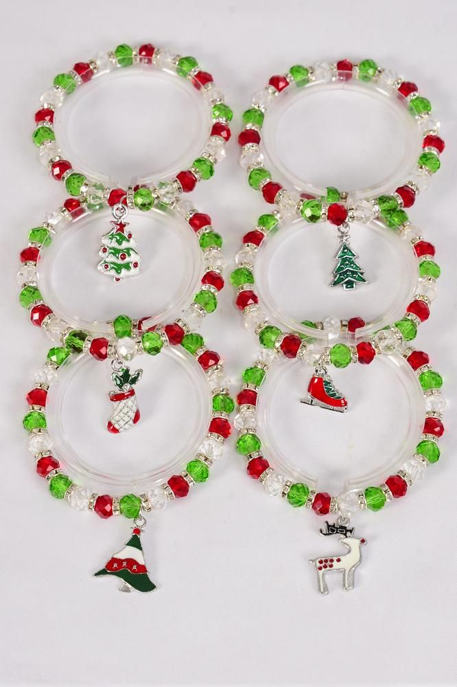 MS-0073 Christmas Charm Bracelet 8 mm Glass Crystal Rhinestone