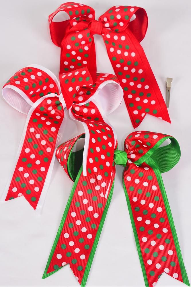 MS-0076 Large Long Tail Christmas Double Layered Bow
