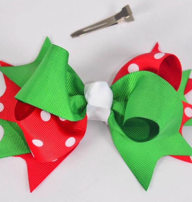 MS-0079 Jumbo Christmas Triple Layered Polka Dot Bow