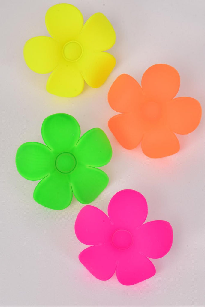 MS-0083 Acrylic Flower Neon Color Rings Adjustable