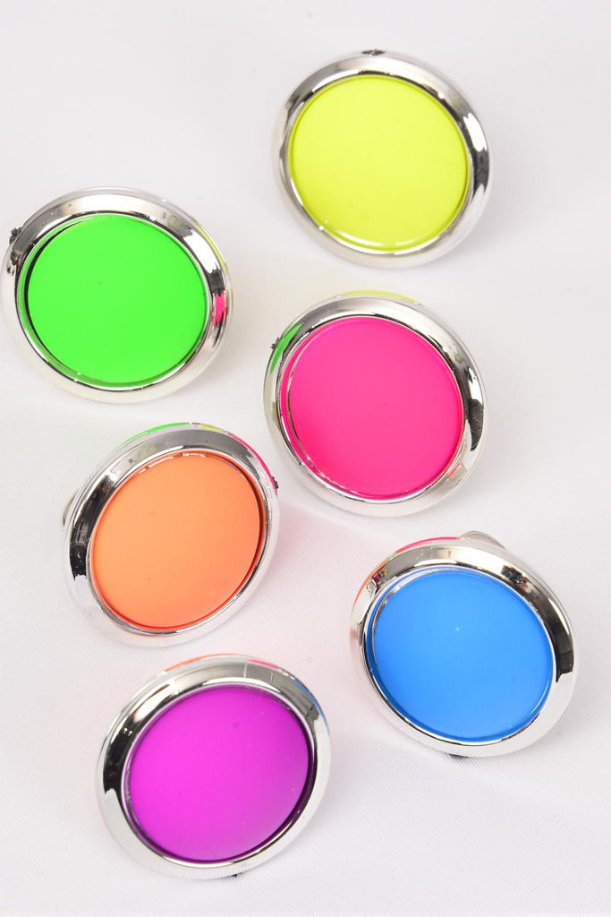 MS-0084 Acrylic Round Neon Color Rings Adjustable
