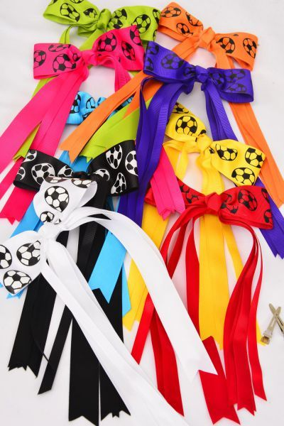 MS-0087 Long Tail Soccer Hair Bow