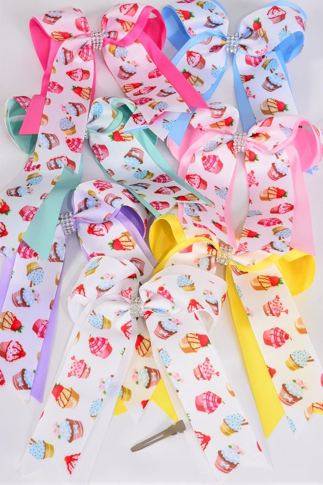 MS-0105  Jumbo Long Tail Double Layered Cake Hair Bow