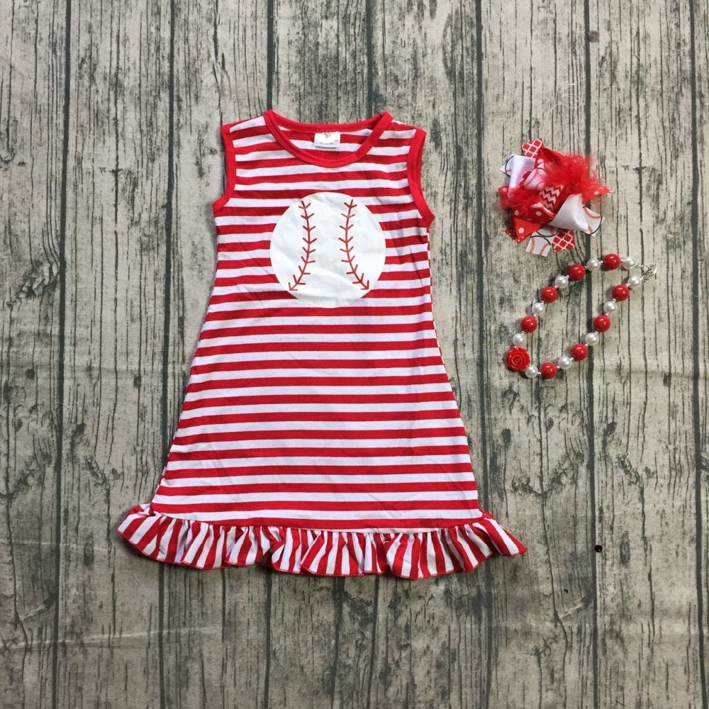 T-1602 Girl's Baseball Dress with Matching Accessories Size 2T-8 READ TO SHIP FROM OHIO