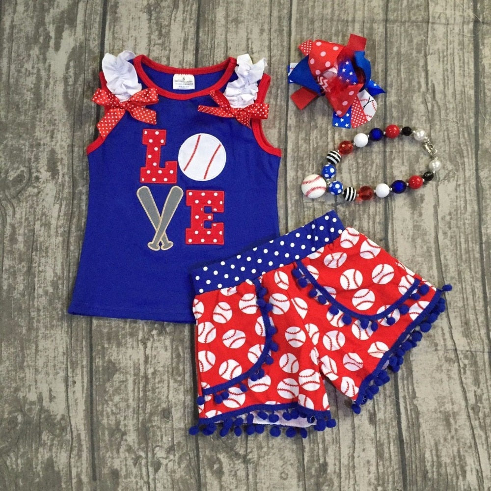 T-1581 Girl's Baseball Outfit with Matching Accessories Size 12M-8 READY TO SHIP FROM OHIO