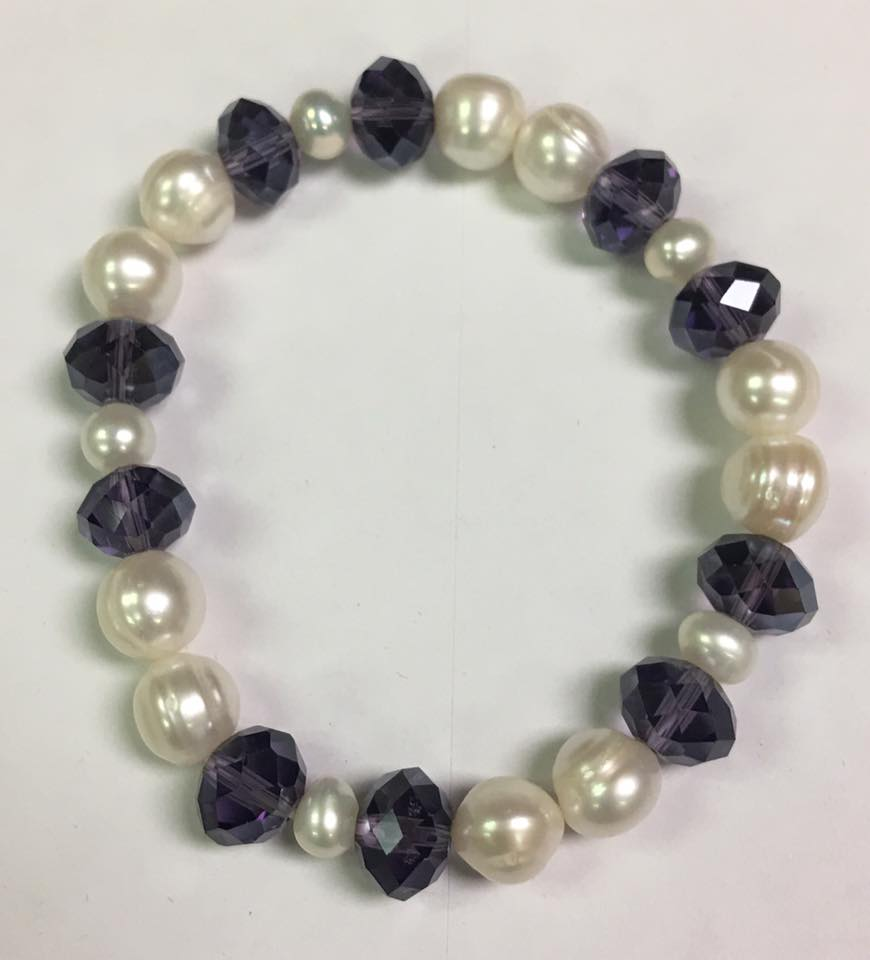 Stretchy White Authentic Fresh Water Pearls Bracelet with Dark Purple Crystals