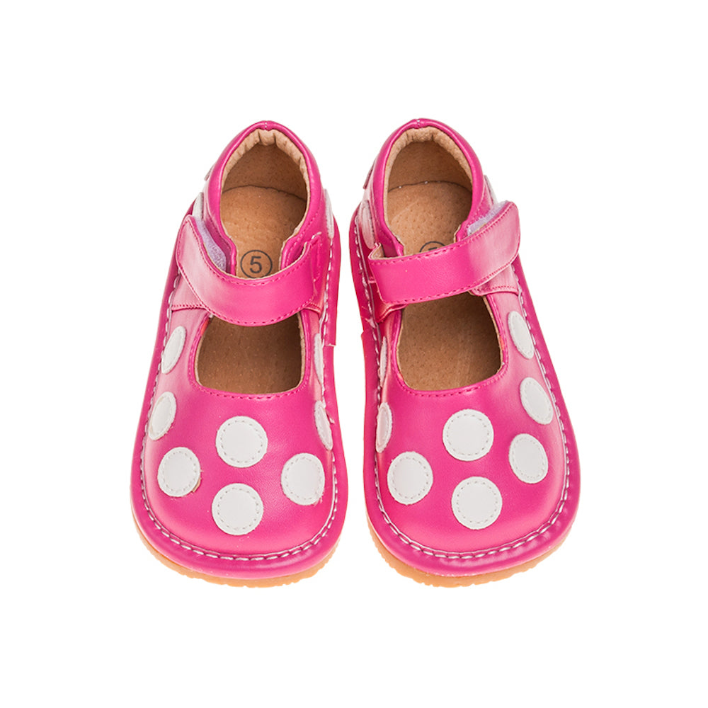 Leather Toddler Girl's Hot Pink and White Polka Dot Mary Jane Squeaky Shoes