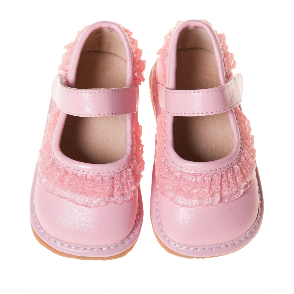 Leather Toddler Girl's Light Pink Ruffle Mary Jane Squeaky Shoes