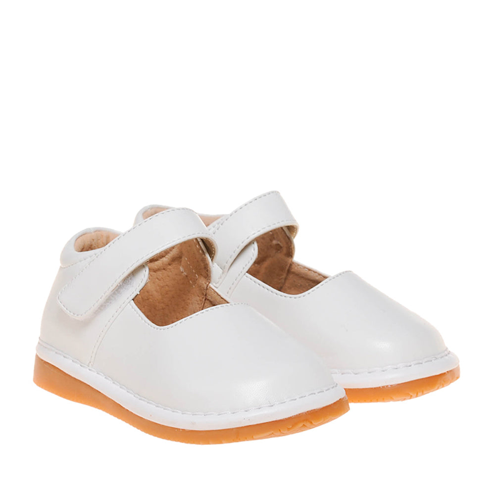 LP301W New! Solid White Leather Toddler Girl's Mary Jane Squeaky Shoes Size 3-10