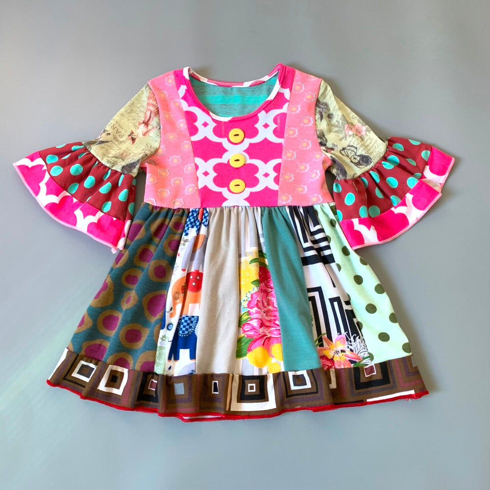 W-1203  Girl's Dress Size 3T-8 READ TO SHIP