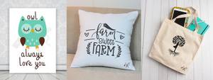 Canvas sign, farmhouse inspired square throw pillow and yoga inspired canvas tote bag.