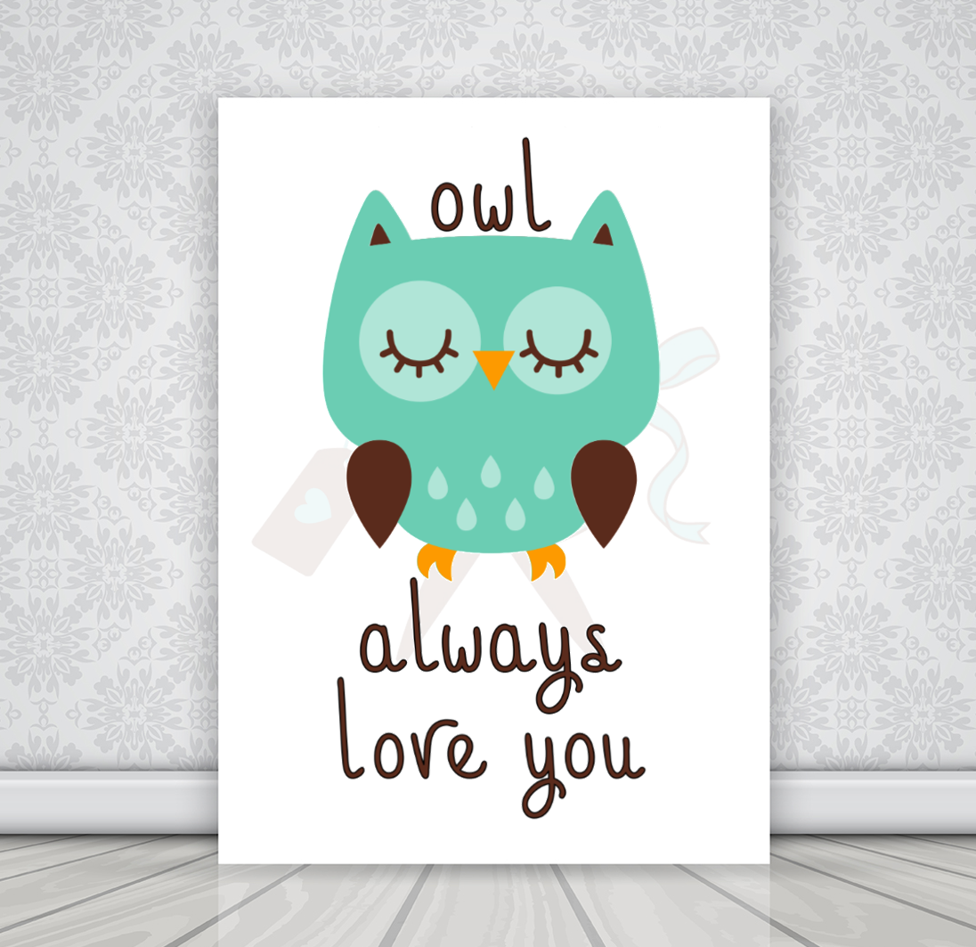 8x10 white canvas with mint colored owl and text owl always love you.