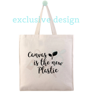 "14""W x 15""H x 4""D heavy canvas tote with 22"" webbed handles. Black heat transfer vinyl professionally applied with text - canvas is the new plastic. Includes two leaf sprouts."