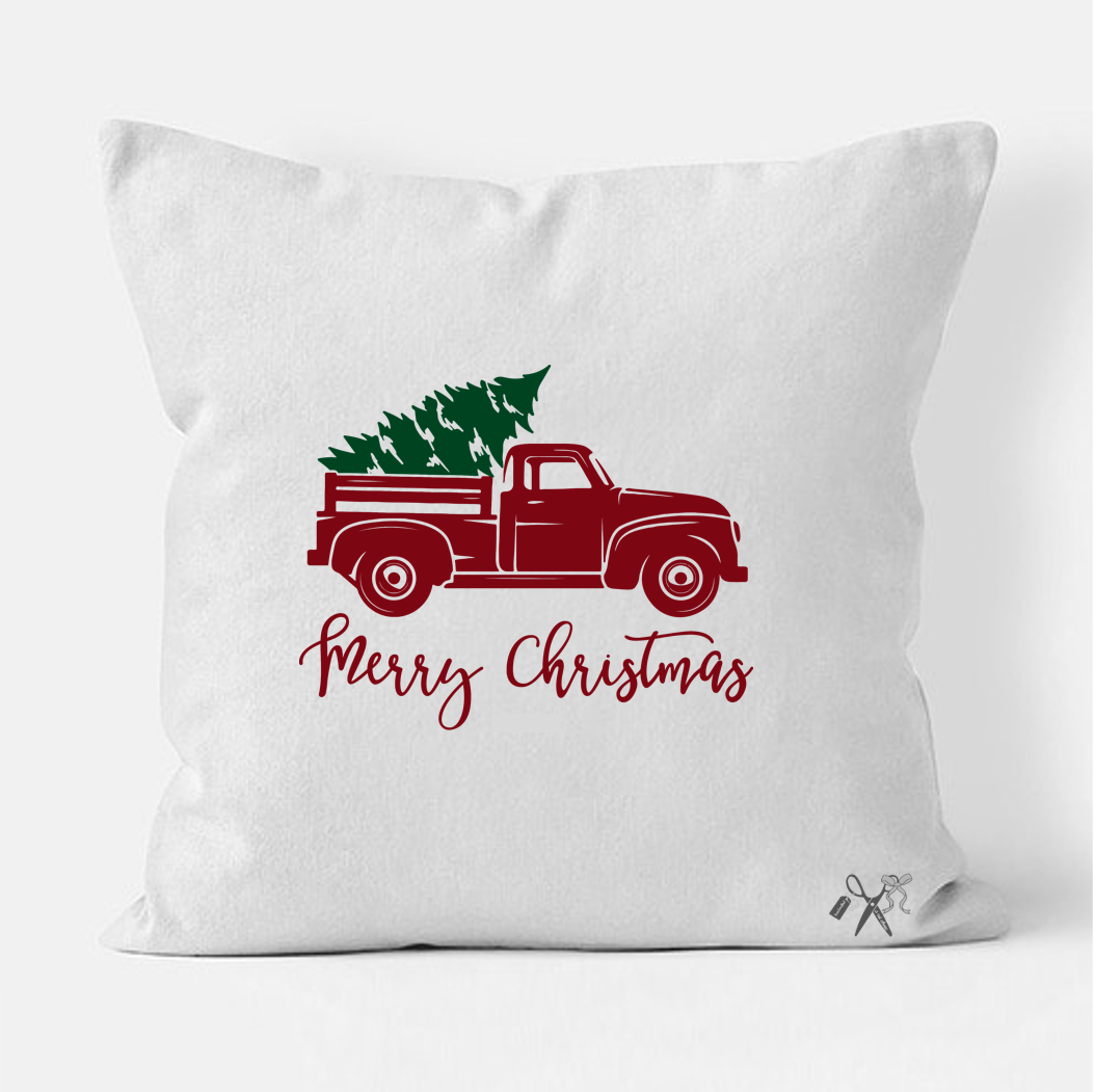 16x16 square, cotton, white pillow cover. Heat transfer vinyl professionally applied. Text - Merry Christmas with retro pickup truck in red and green tree in the bed.