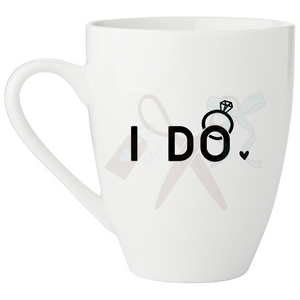 17oz white porcelain mug with I do text and ring with diamond in black; Handle on left