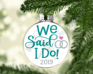 We Said I Do Round Floating Glass Ornament