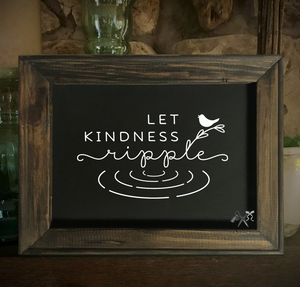 8x10 reverse black canvas. Frame is dark walnut stained. Heat transfer vinyl in white, professionally applied with text - let kindness ripple.