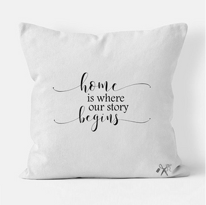 16x16 square, cotton, white pillow cover. Heat transfer vinyl professionally applied. Text - home is where our story begins