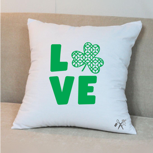 16x16 square, cotton, white pillow cover. Heat transfer vinyl professionally applied. Text - Love with a shamrock for the O. All in green.
