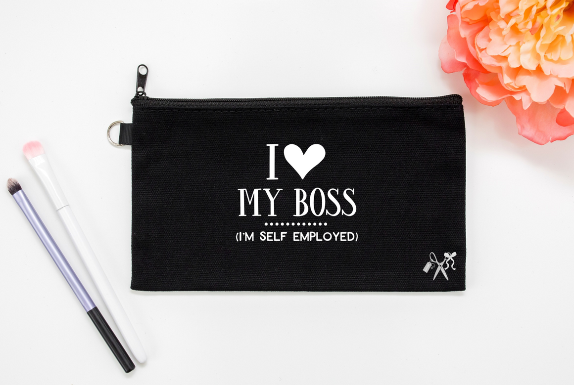 5x8 black cotton makeup bag. White text - I heart my boss. (I'm self employed)