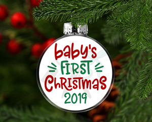 Baby's First Christmas Round Floating Glass Ornament