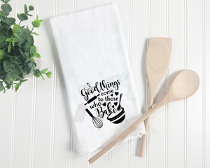 Cotton white towel with script text Good Things Come to Those Who Bake with hearts and baking icons in black