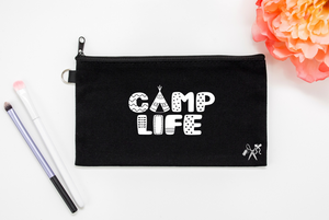 5x8 black cotton makeup bag. White text - camp life.